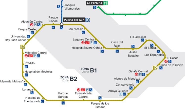 Plano línea 12 Metro Sur Madrid