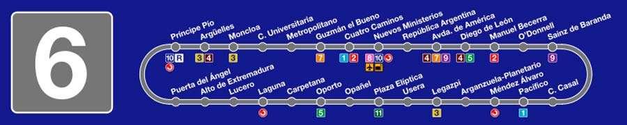 Plano línea 6 Metro de Madrid