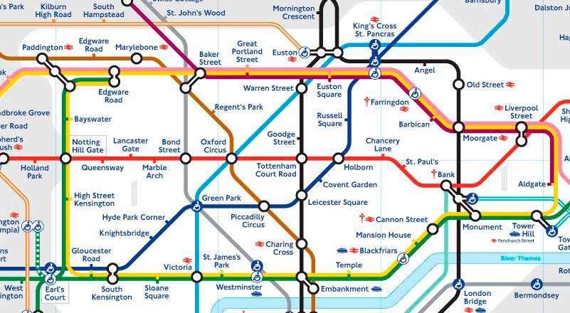 Plano Metro de Londres centro