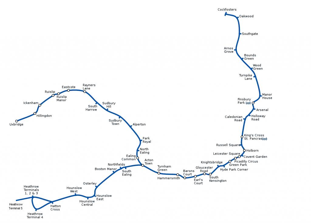 Plano Metro de Londres Línea Piccadilly