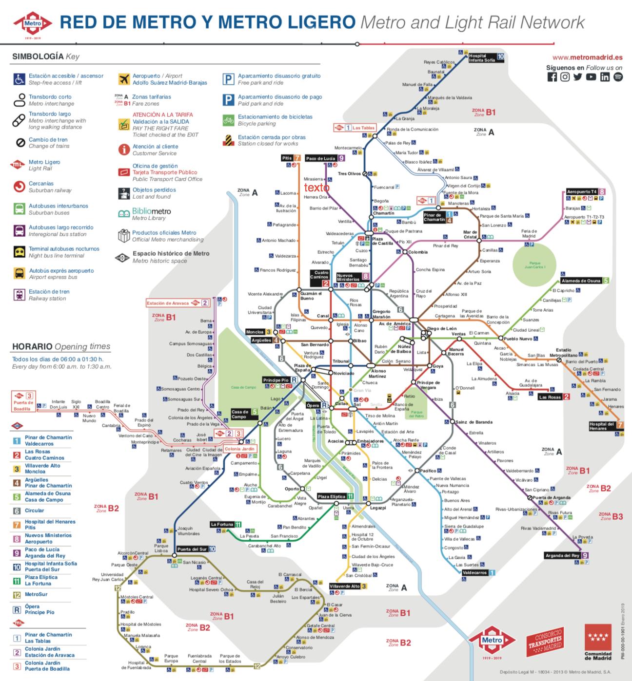 plano del metro de madrid completo actualizado