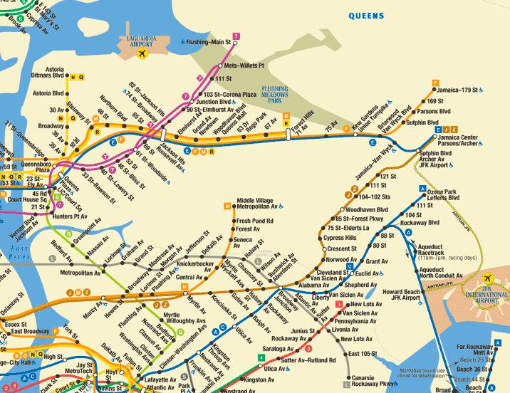 Plano Metro Queens Nueva York