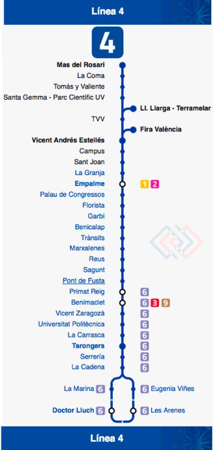 Plano Metro Valencia línea 4