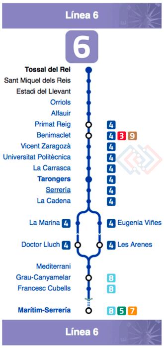Plano Metro de Valencia línea 6
