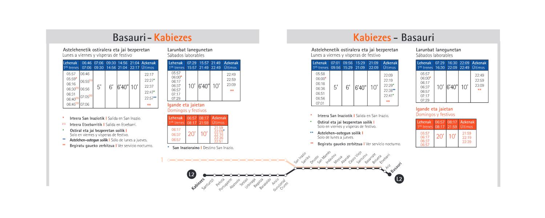 horario metro bilbao línea2