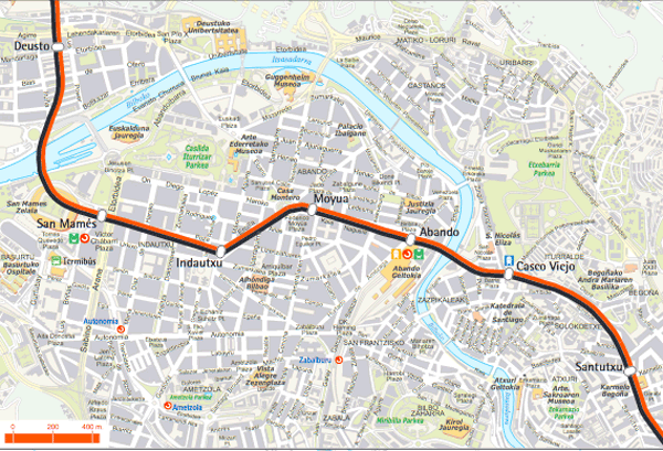 Metro Bilbao plano turístico