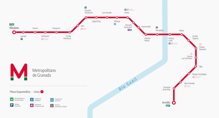 Metro de granada plano paradas