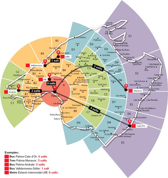 mapa zonas tarifarias transportes palma de mallorca